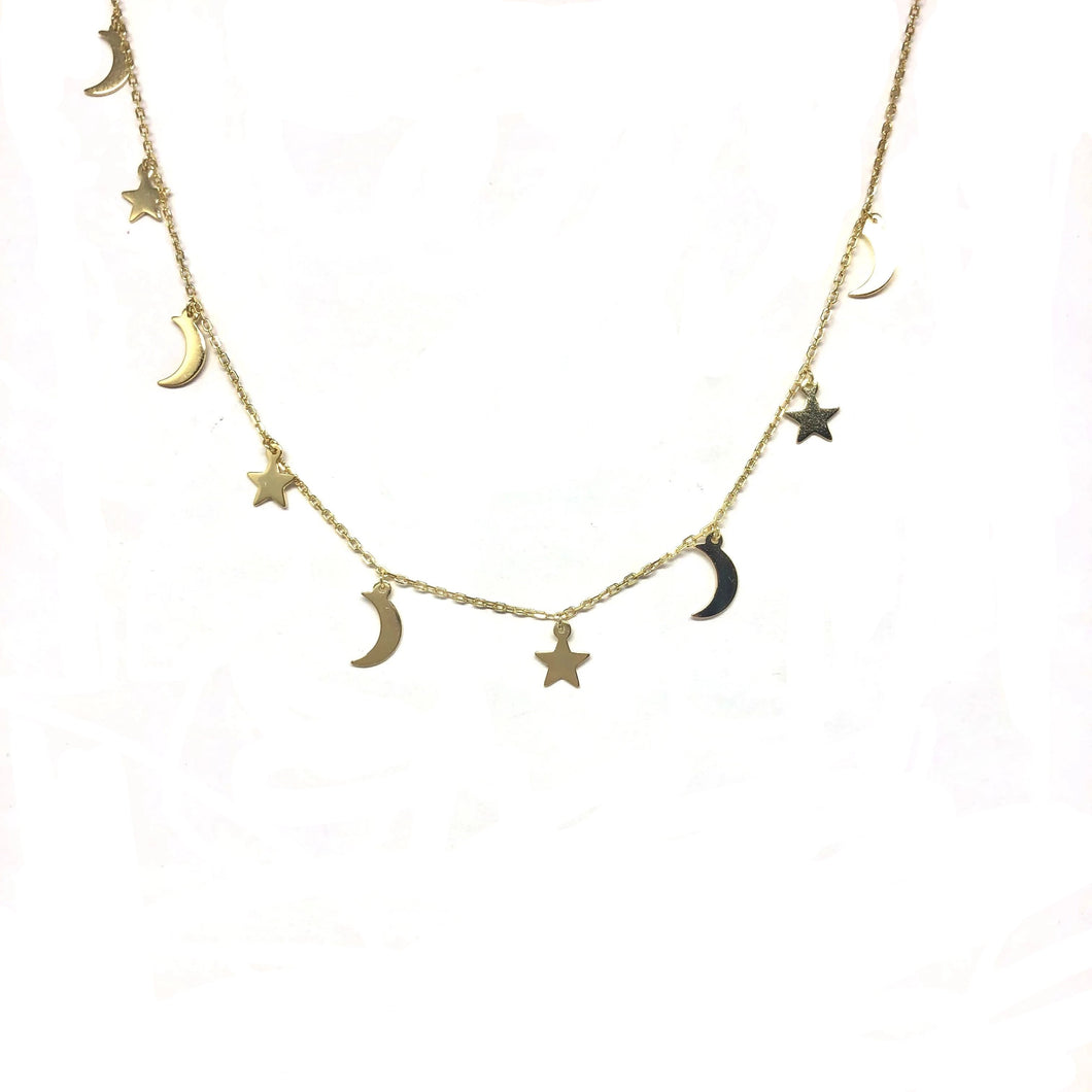 Follow me Star Moon Necklace - Topaz Custom Jewelry