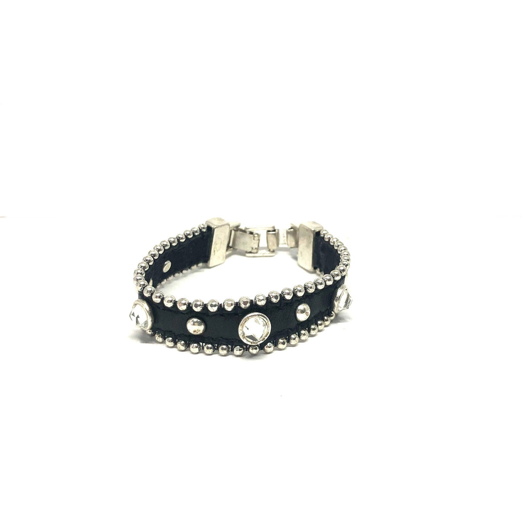 Black Leather Bracelet, Black Crystals Bracelet, - Topaz Jewelry