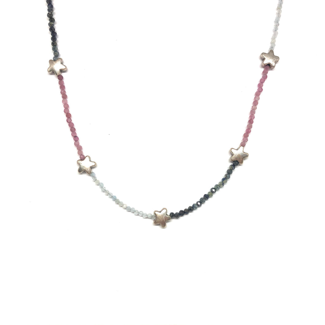 Pink,Blue Sapphire Gemstones Necklace,Star Necklace,Topaz Jewelry