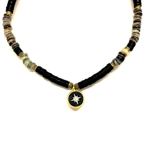 Black Beaded Necklace, Black Necklace Northern Star Pendent, Topaz Jewelry