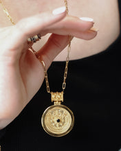 Load image into Gallery viewer, Gold Vermeil Medallion Pendant,Gold Medallion Necklace,Blue Sapphire Gold Medallion,Topaz Jewelry