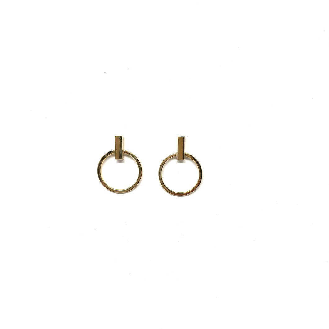 10K Gold Bar Hoop Earrings - Topaz Jewelry