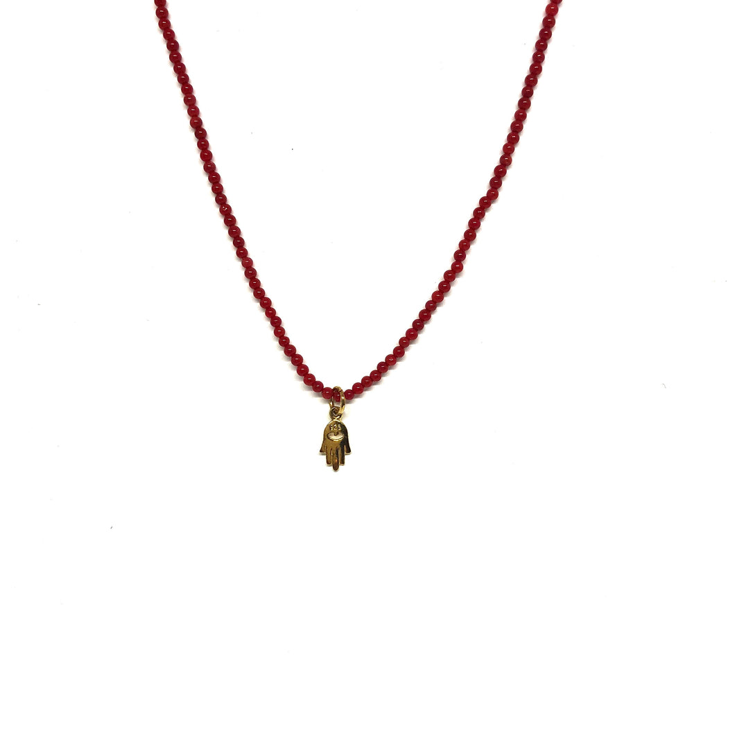 Red Beads Gold Filled Hamsa Necklace,Topaz Jewelry