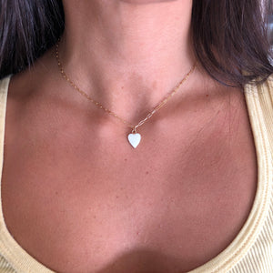 White Enamel Heart Necklace,White Heart Necklace,Topaz Jewelry