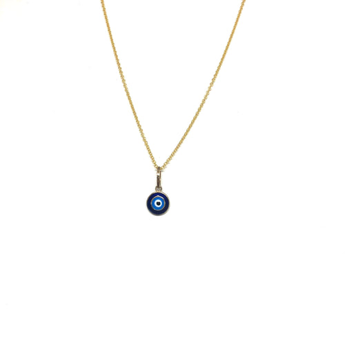 10K Solid Gold Blue Eye Necklace,Small Blue Evil Eye Necklace,Topaz Jewelry