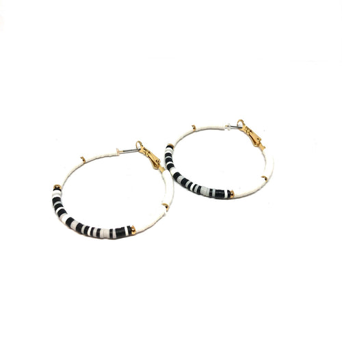 Beaded Hoop Earrings,Thin Black White Hoop Earrings - Topaz Jewelry