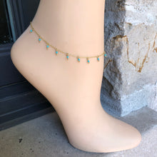Load image into Gallery viewer, Turqouise Anklet,Gold Anklet,Topaz Jewelry