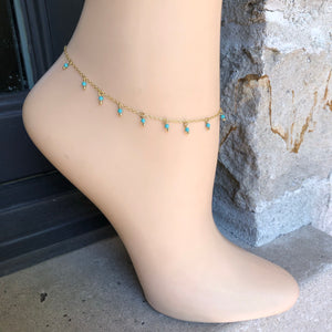 Turqouise Anklet,Gold Anklet,Topaz Jewelry