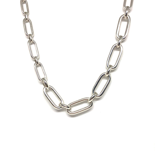 Silver Plated Oval Links Necklace,Short Link Necklace - Topaz Jewelry