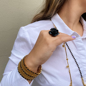 Black Flower Streachy Ring,Topaz Jewelry
