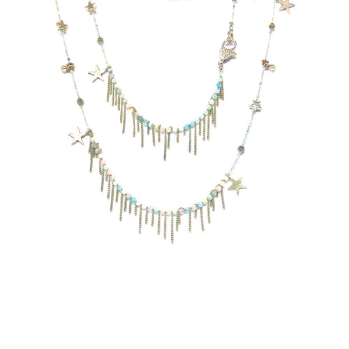 Long Pink,Blue Statement  Necklace,Fringe Gemstone Necklace,Topaz Jewelry