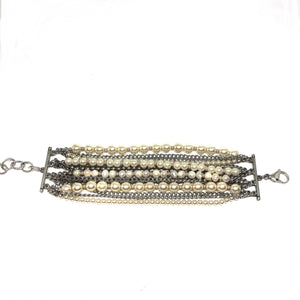 Multi Layer Chains, Pearls Bracelet, Swarovski Pearls ,Silver Chains Bracelet ,Topaz Jewelry