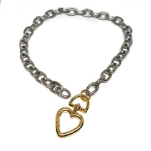 Load image into Gallery viewer, ChunkySilver Plated Links Necklace,Gold Heart Clasp,Statement Links Necklace Topaz Jewelry