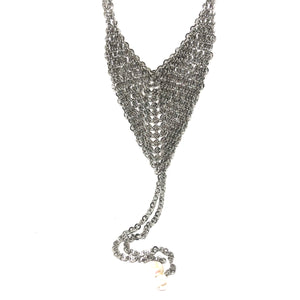 Chain Mail Necklace,Chain Mail Lariat Necklace,Silver Lariat Pearls Necklace
