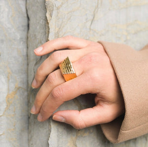 Gold Plated Geometric Ring, Statement Geometric Ring, Topaz Jewelry