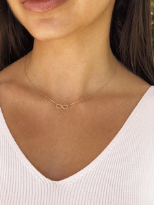 10K Infinity Necklace,Solid Gold Infinity Necklace - Topaz Jewelry