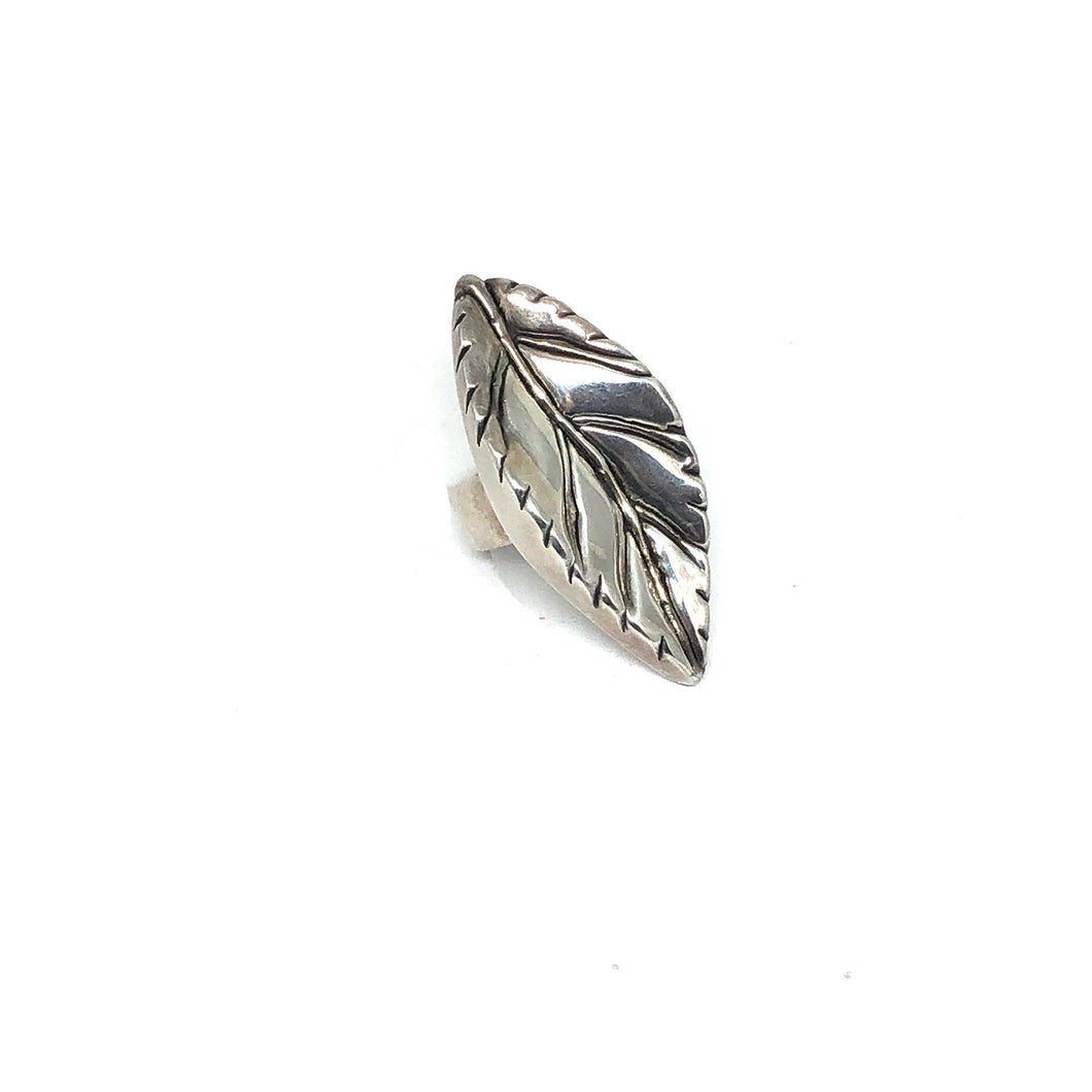 Silver Leaf Statement Ring - Topaz Jewelry