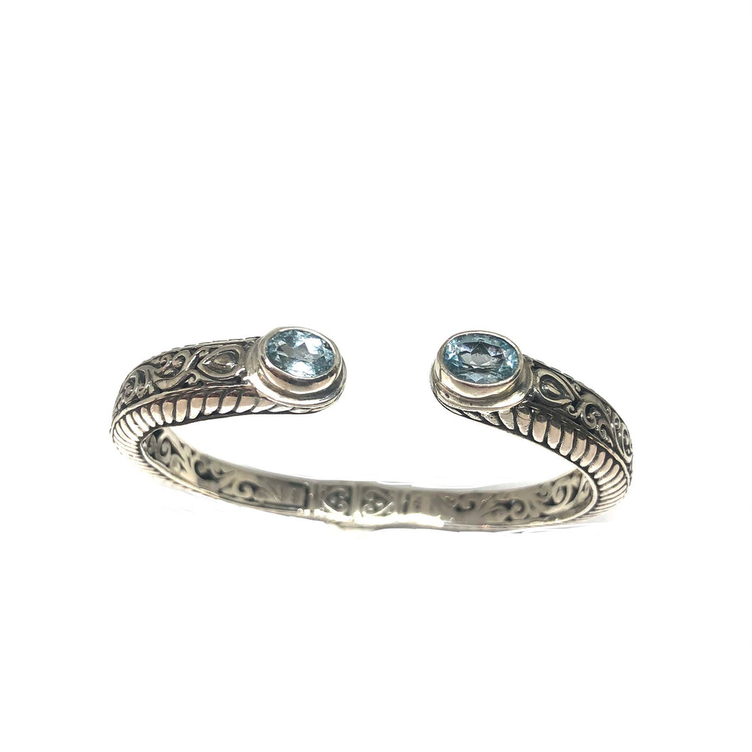 Sterling Silver Textured Cuff Bracelet,Blue Topaz Silver Cuff Bracelet,Topaz Jewelry