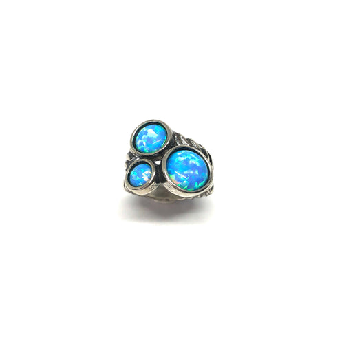 Blue Opal Ring,Three Opal Stone Ring,Silver Opal Ring