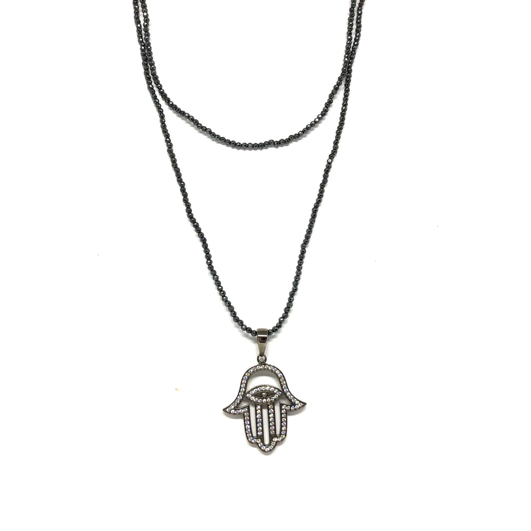 Black Hamsa Necklace - Topaz Custom Jewelry