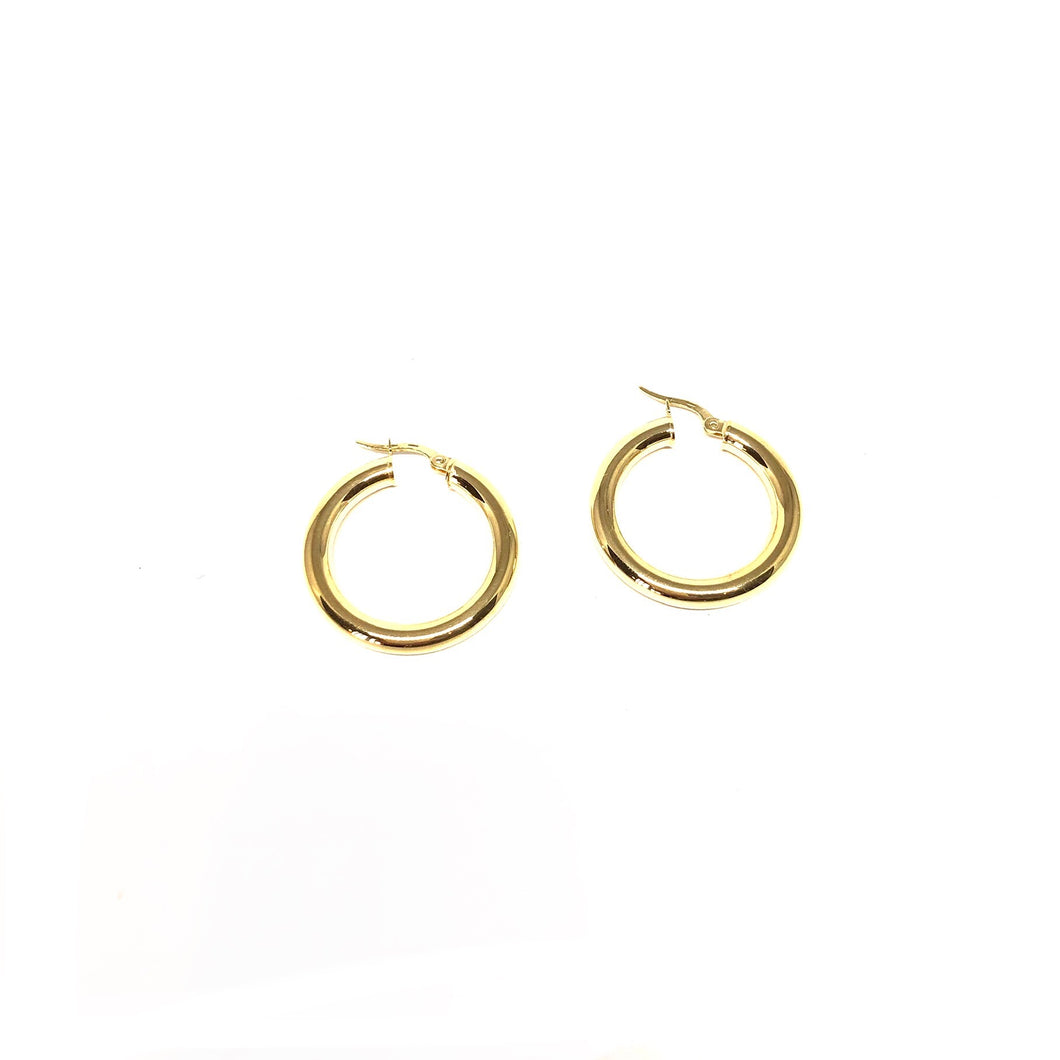 4mm Gold Hoops,Thic Solid Gold Hoop Earrings,Topaz Jewelry