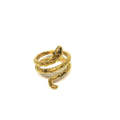 Gold Snake Ring, Stainless Steel Gold Snake Ring, Topaz Jewelry