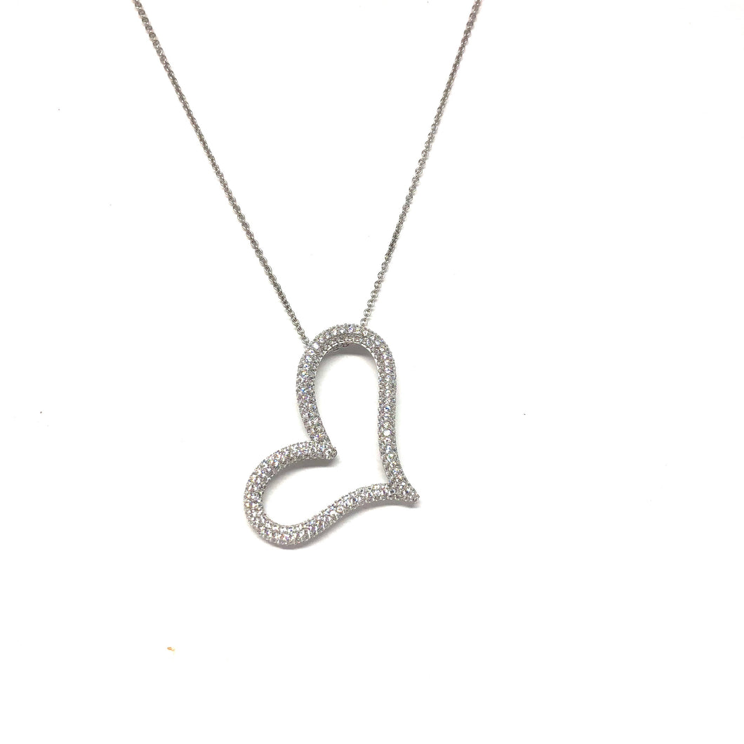 Large Open Heart Necklace,Pave Heart Necklace - Topaz Jewelry