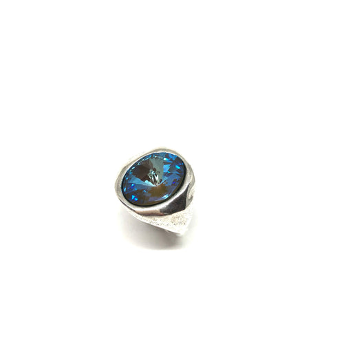 Silver Statement Ring, Blue Crystal Silver Ring ,Blue Swarovski Crystal Statement Ring, Topaz Jewelry