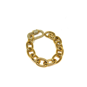 Gold Plated, Oval Links Small Bracelet, Gold Small Bracelet, Carabiner Clasp Oval Small Wrist Bracelet, Topaz Jewelry