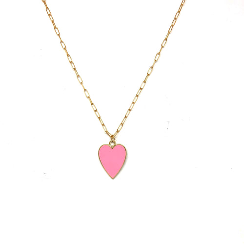 Pink Enamel Heart Necklace,Pink Heart Necklace - Topaz Jewelry