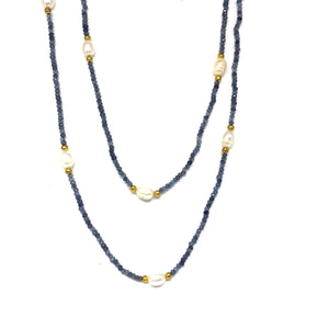 Long Blue Sapphire Necklace - Topaz Jewelry