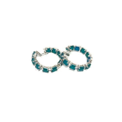 Green Hoop Earrings,Emerald Green Hoop Earrings,Topaz Jewelry