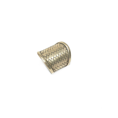 Statement Silver Ring,Woven Wide Ring,Topaz Jewelry