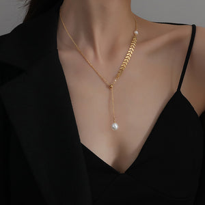 KTWO Jewelry Gold Stainless SteelDrop Y Pearl Necklace