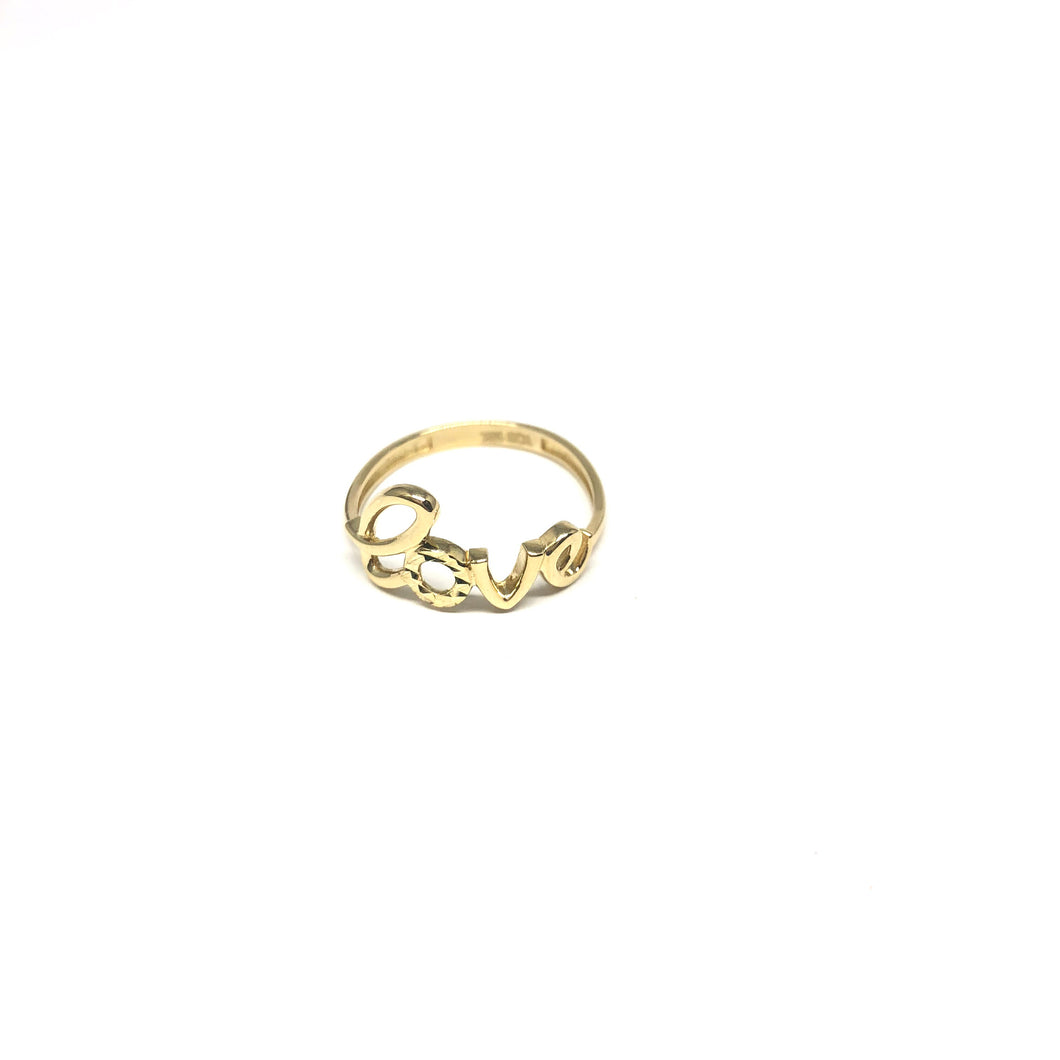 10K Gold Love Script Ring, Gold Love Ring, - Topaz Jewelry