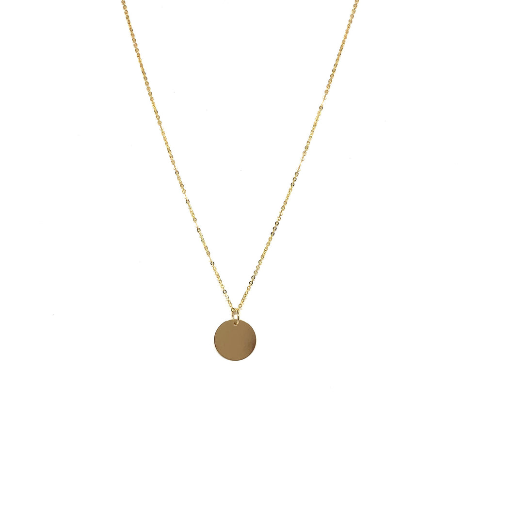 10K Solid Gold Disc Necklace,Topaz Jewelry