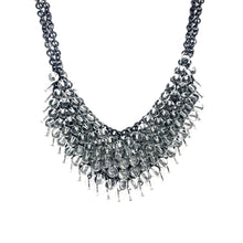 Load image into Gallery viewer, Black Statement Necklace, Gunmetal Crystals Necklace - Topaz  Jewelry