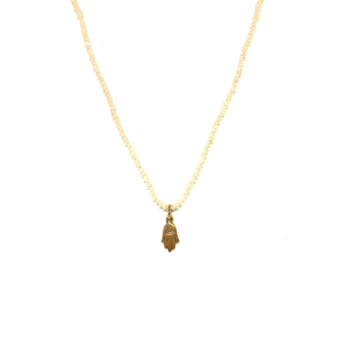 Pearls Gold Filled Hamsa Necklace,Topaz Jewelry