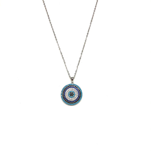 Sterling Silver Blue Evil eye Necklace - Topaz Jewelry