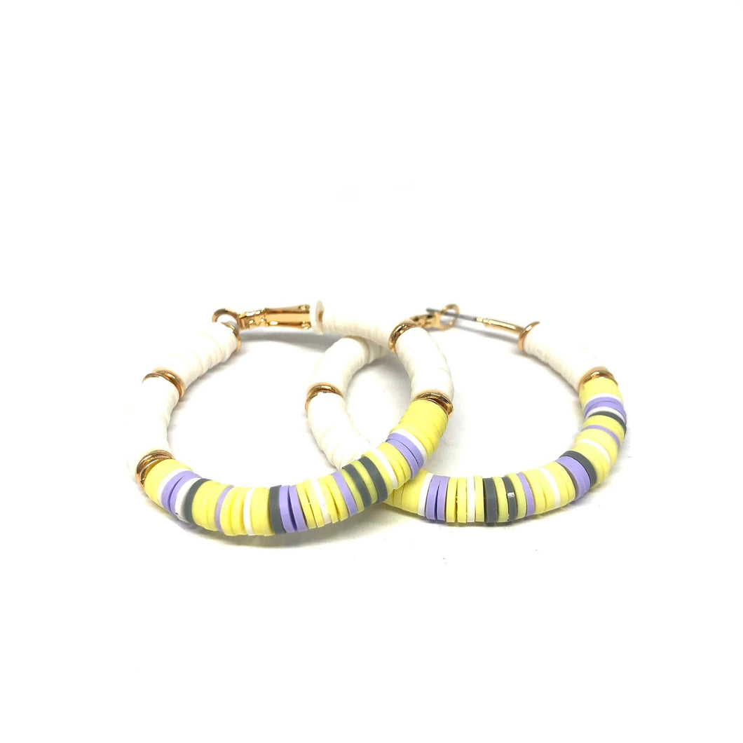 Yellow Beaded Hoop Earrings, Colorful Hoop Earrings - Topaz Jewelry