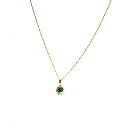 Solid Gold Evil Eye Necklace - Topaz Jewelry