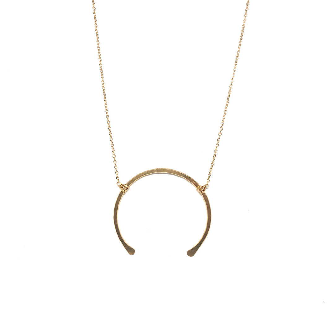 Gold Hammered Large Gold Horseshoe  Necklace - Topaz Jewelry