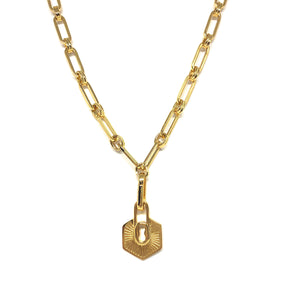 Gold Plated Oval Link Charm Necklace, Lock Charm Necklace, Statement Gold Link Necklace, Topaz Jewelry