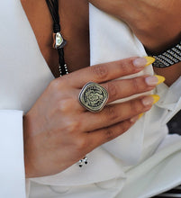 Load image into Gallery viewer, Silver Statement Coin Ring, Silver Coin Ring, Topaz Jewelry