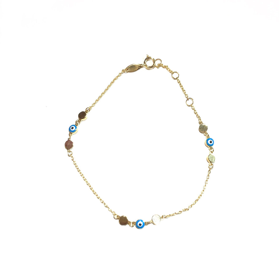 10K Solid Gold Evil Eye Bracelet,Topaz Jewelry