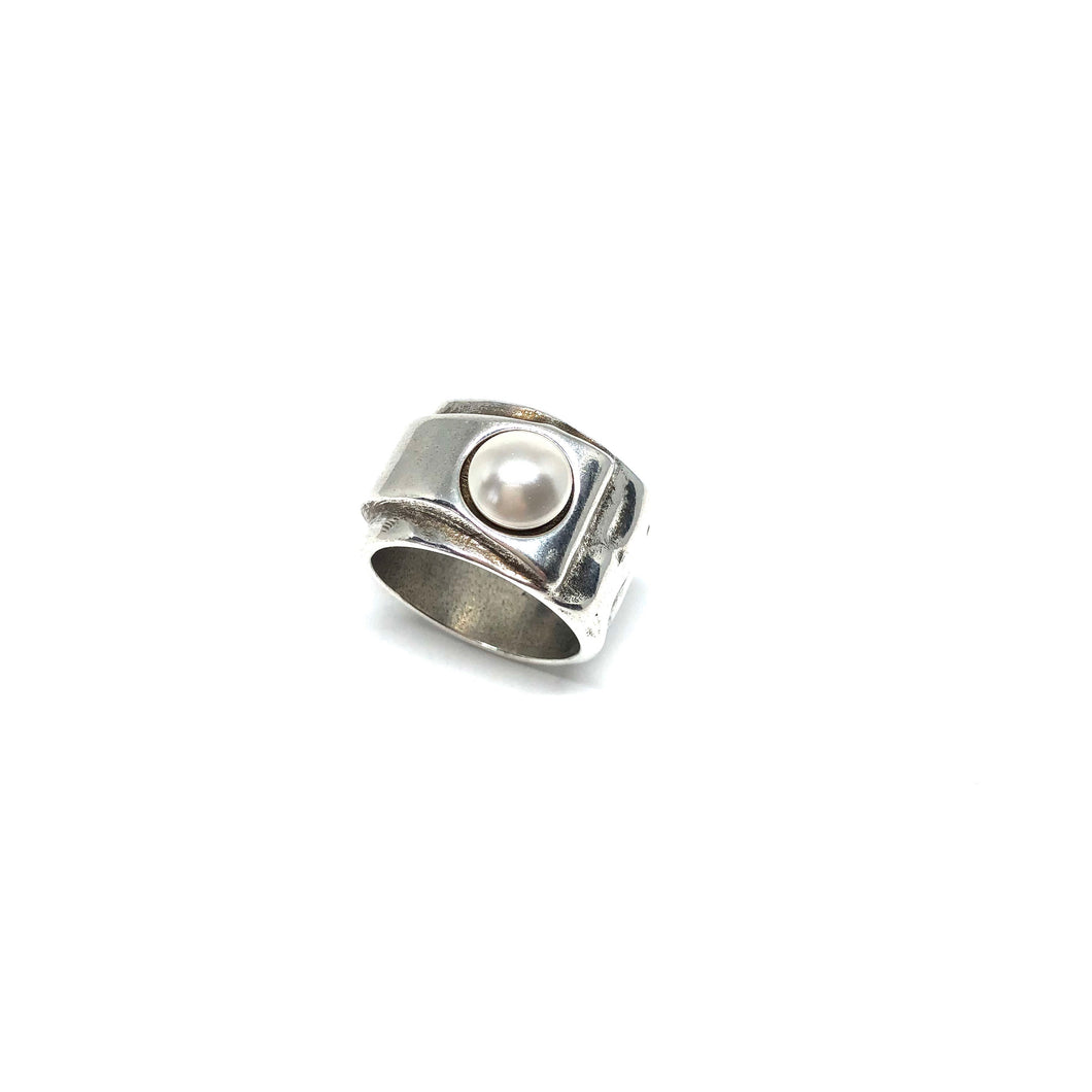 Sterling Silver Plated Statement Ring, Silver Pearl Statement Ring, Topaz Jewelry