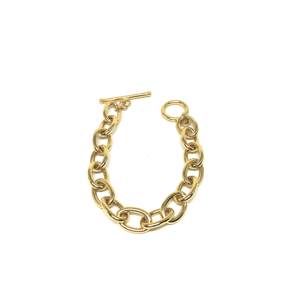 Gold Plated Links Bracelet, Oval Links Bracelet,Chunky Gold Bracelet