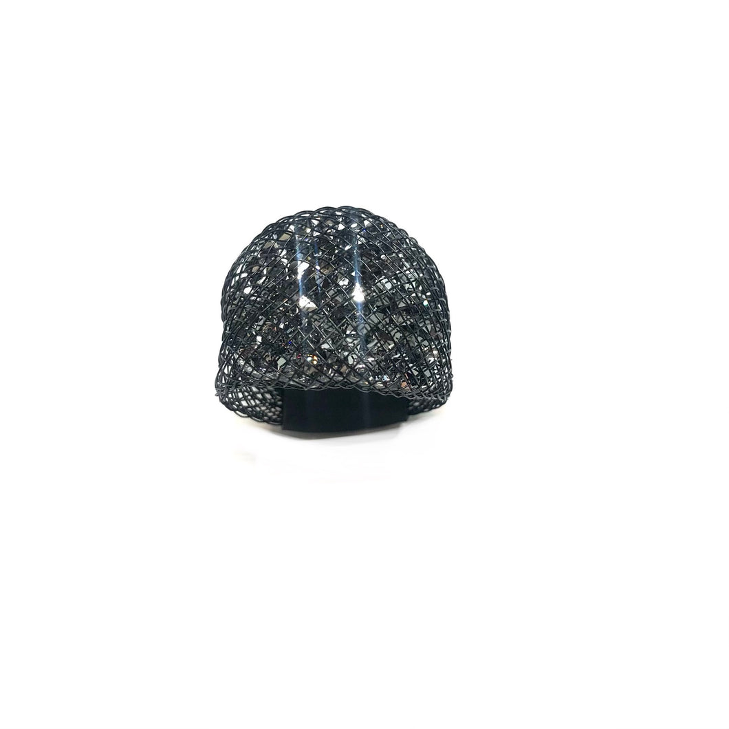 Black Mesh Ring, Black Statement Ring, Silver Swarovski Ring, Black Ring, Sparkly Ring,- Topaz Jewelry