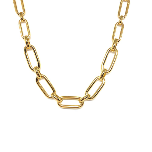 Gold Plated Oval Links Necklace,Short Link Necklace - Topaz Jewelry