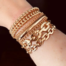 Load image into Gallery viewer, Gold Plated Link Chain Cuff Bracelet,Topaz Jewelry